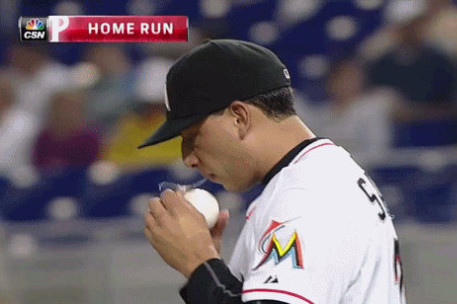Miami Marlins Pitcher Alex Sanabia Caught on Camera with Obvious Spitball