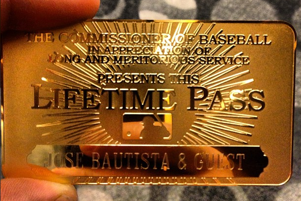 Bautista Gets 'Lifetime Pass' from MLB