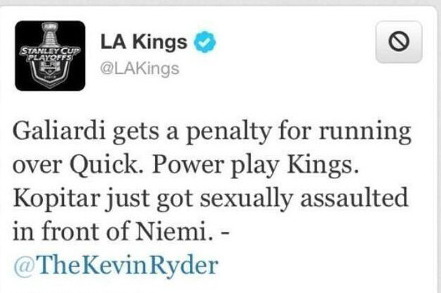 LA Kings Apologize for Kevin Ryder's Sexual Assault Joke on Twitter