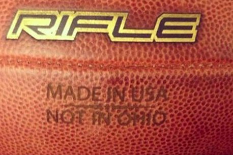 Michigan Wolverines Brand New Footballs with 'Made in USA, Not in Ohio'