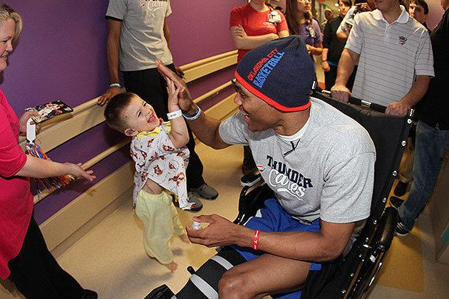 Russell Westbrook Meets Adorable Fan While Visiting Oklahoma Tornado Victims
