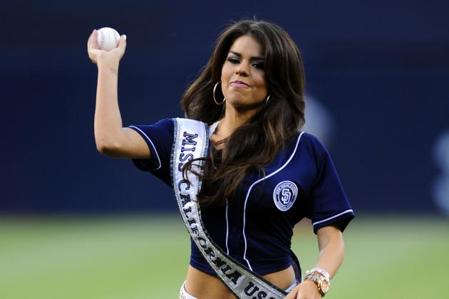 Miss California USA Mabelynn Capeluj Threw out a First Pitch in Heels
