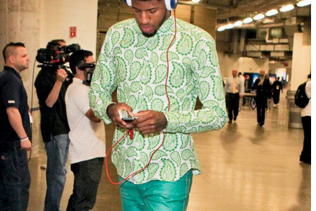 Paul George Wore Aqua Pants and a Green