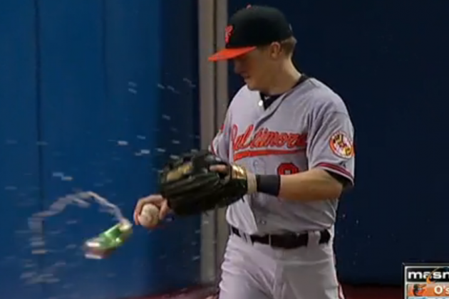 Jays Fan Throws Beer at McClouth