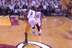 Dwyane Wade Delivers an Elbow to Head of Lance Stephenson in Game 2