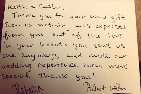 RGIII Sent Fans Wedding Gift Thank-You Notes