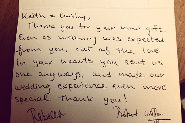 RGIII Fan Receives Autographed Thank You Card After Sending Wedding Gift