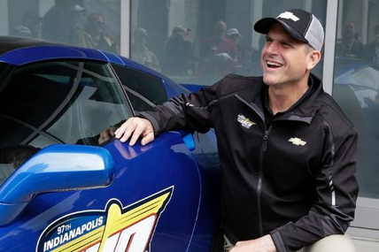 Jim Harbaugh Drives Pace Car at Indy 500