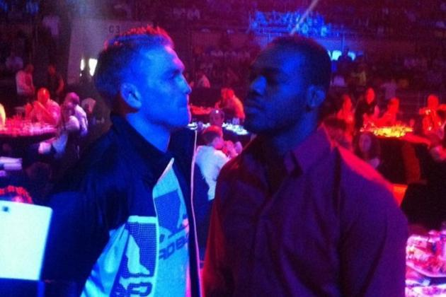 UFC News: Jon Jones and Alexander Gustafsson Engage in Staredown at Moscow Event