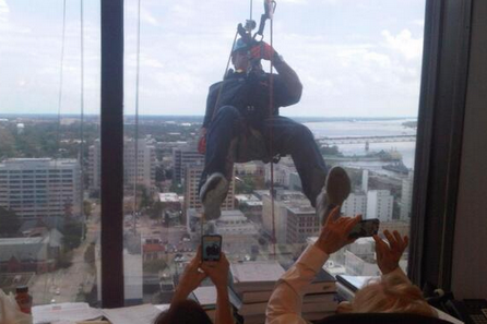 Les Miles Rappels Down a 24-Story Building in Downtown Baton Rouge