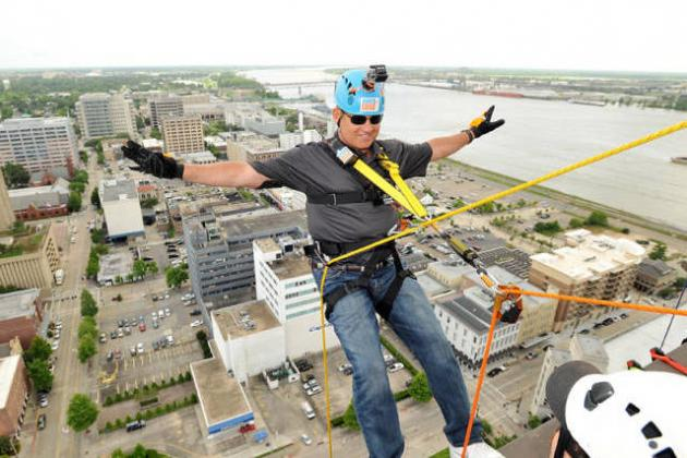 Les Miles Rappels for 'Over the Edge for Adoption'