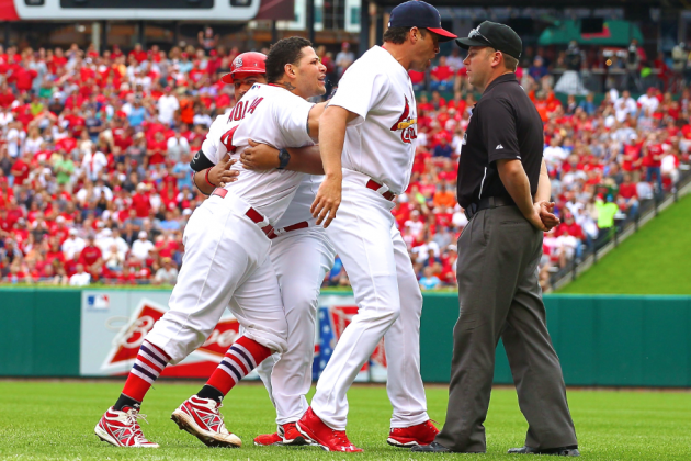 Cardinals' Yadier Molina Reportedly Suspended for Making Contact with Ump