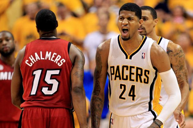 VIDEO: Mario Chalmers Flops, Paul George Has Words for Him