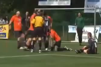 Fight Breaks out in One-Legged Soccer Game