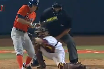 Cal State Fullerton Batter Gets Hit in the Balls by a Pitch