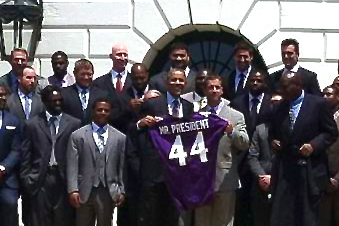 Super Bowl Champion Baltimore Ravens Visit President Obama at the White House