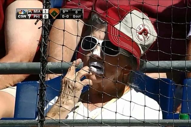 Phillies Fan Puts Way Too Much Sunscreen on Lips