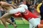 Harden Jersey-Wearing Chicken Mascot Tackles Streaker