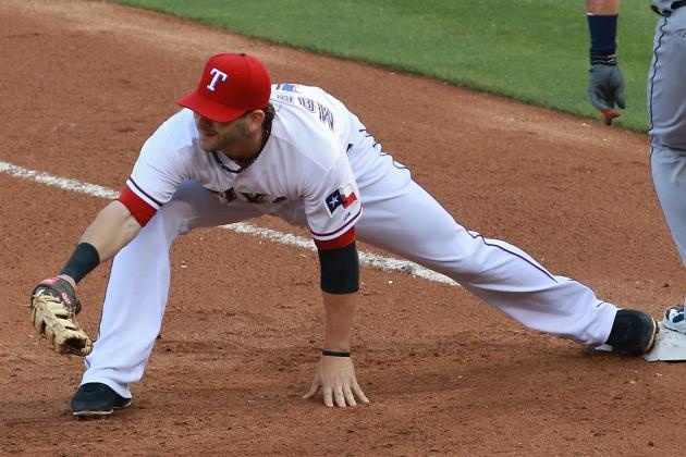 Mitch Moreland Exits, Hamstring Trouble