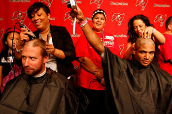 Creating a Buzz: Bucs Shave Heads for Pediatric Cancer Research