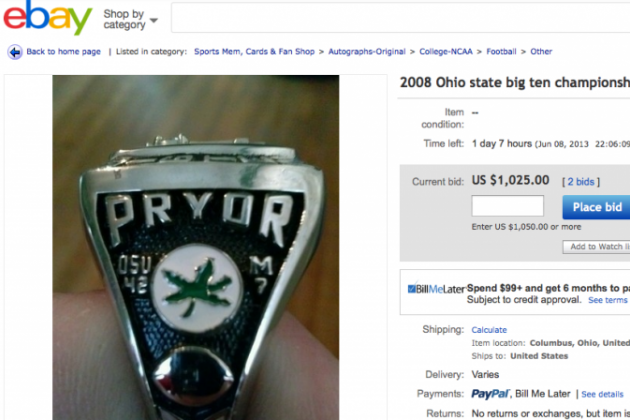 PHOTO: Terrelle Pryor's 2008 Big Ten Title Ring on EBay?