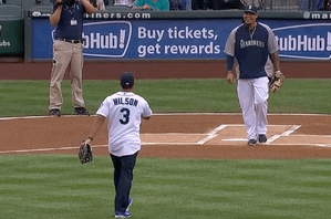 Russell Wilson Throws out First Pitch at Mariners-Yankees Game
