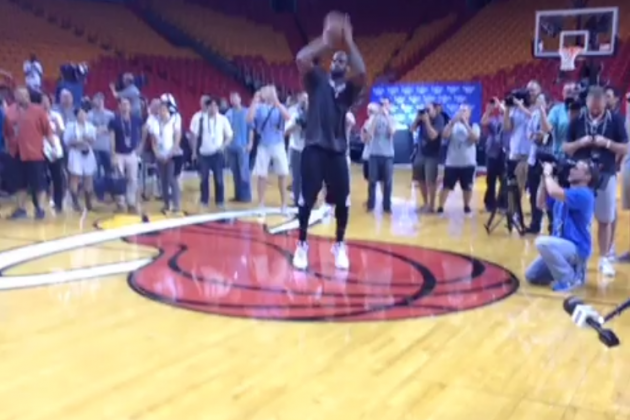 LeBron James Swishes Half-Court Shot with Ease