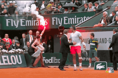 Flare-Equipped Streaker Halts French Open