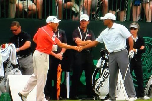 Tiger Woods, Sergio Garcia Share Handshake at U.S. Open Practice (PHOTO)