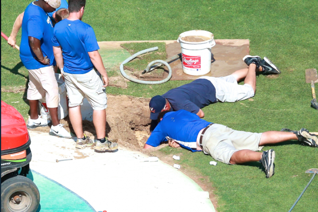 Sinkhole Disrupts Cleveland Indians vs. Texas Rangers Pregame Activities