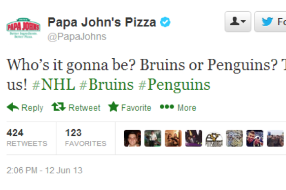 Papa John's Twitter Asks Fans if Pittsburgh Penguins Will Win Stanley Cup