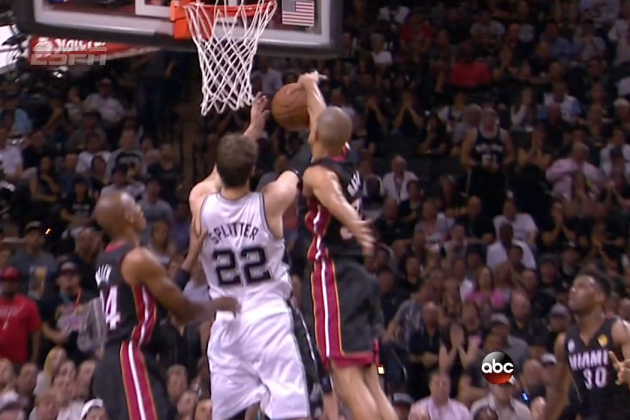 Everyone On The Heat Is Blocking the Shot of Tiago Splitter