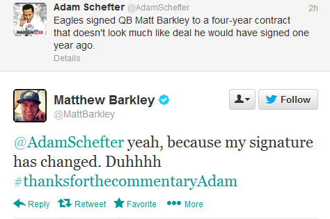 Eagles QB Matt Barkley Fires Back at Adam Schefter