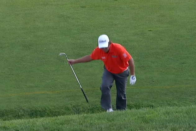 Jason Dufner Throws His Club in the Water at the U.S. Open