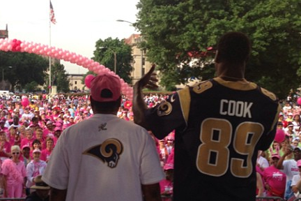 Jared Cook and Mom for Breast Cancer Awareness
