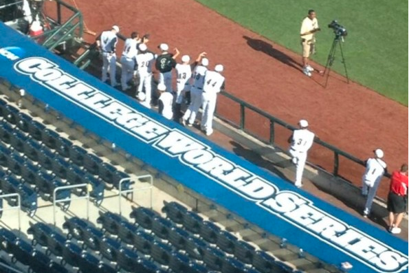 College World Series Sign Atop Dugout Has Unfortunate Typo