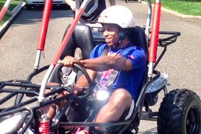 Victor Cruz Cruising Around in a Buggy