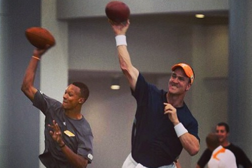 Peyton Manning Works out with Tennessee QB Josh Dobbs