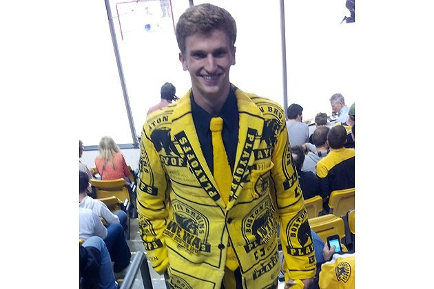 Boston Bruins Fan's Rally Towel Suit Is Better Than Anything You're Wearing