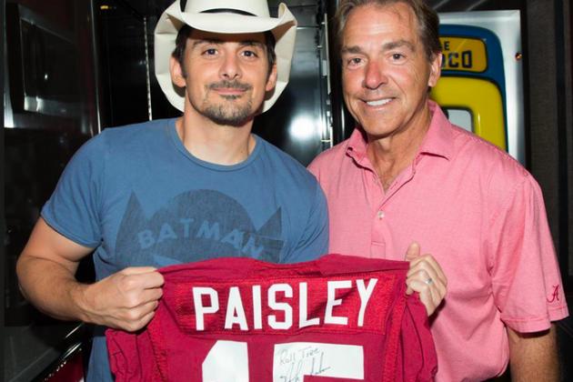 Photo: Nick Saban Gives Brad Paisley a Signed Crimson Tide Jersey