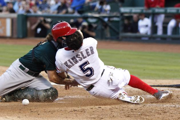 Kinsler Stays in Game Despite Getting Three Stitches in Jaw