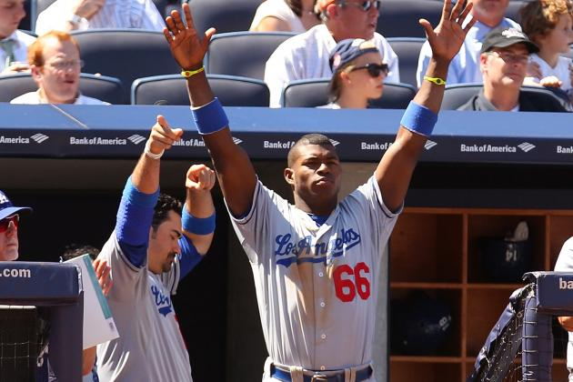 Yasiel Puig Has a Good Time in Dodgers' Doubleheader Split with Yankees