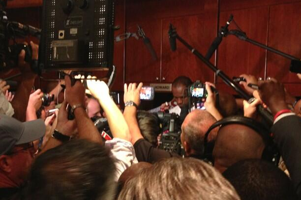 Media Swarms LeBron's Locker in Game 7 Pregame