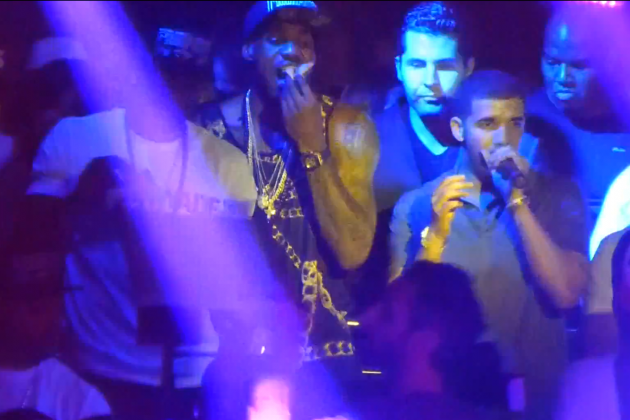 LeBron James and Dwyane Wade Celebrated by Eating Pizza On Stage with Drake