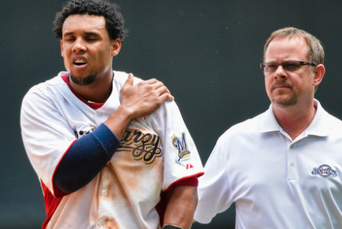 Carlos Gomez Injury: Brewers CF Leaves Game After Crashing into Wall