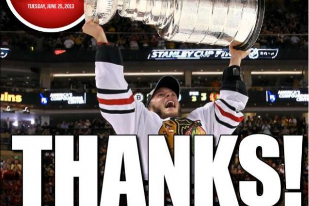 Toronto Sun Cover Thanks Chicago for Beating Boston