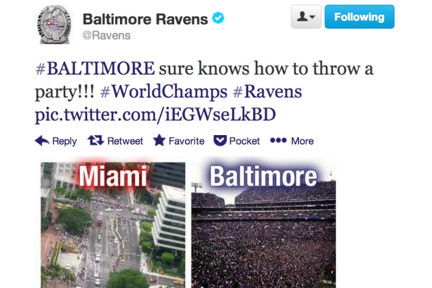 Baltimore Ravens Twitter Account Calls Out Miami Heat For Parade Crowd