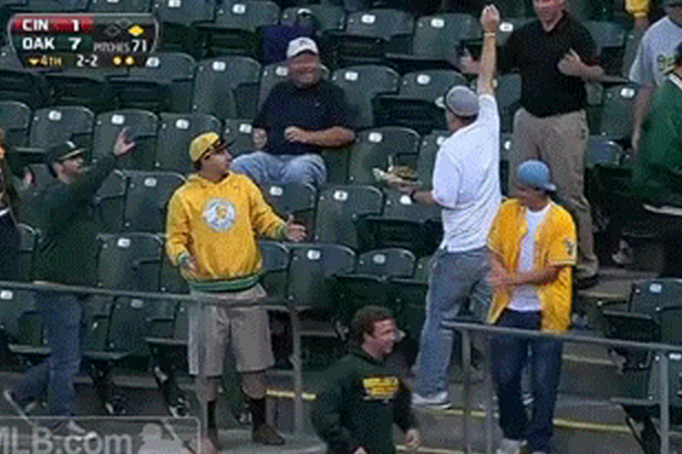 Oakland A's Fan Catches the Legendary 'Nacho Ball'