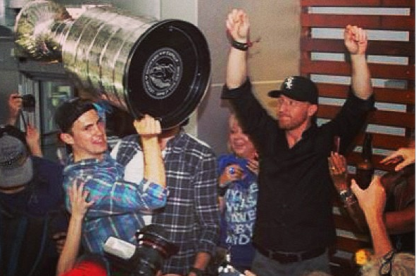 Instagram: Hossa Celebrating with Cup in White Sox Hat