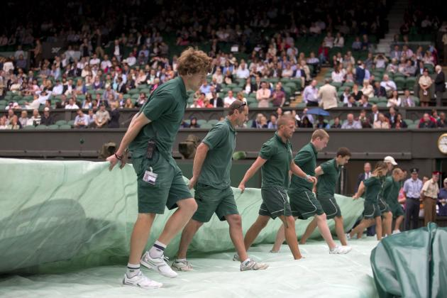 Play Suspended Due to Rain on Outside Courts at Wimbledon